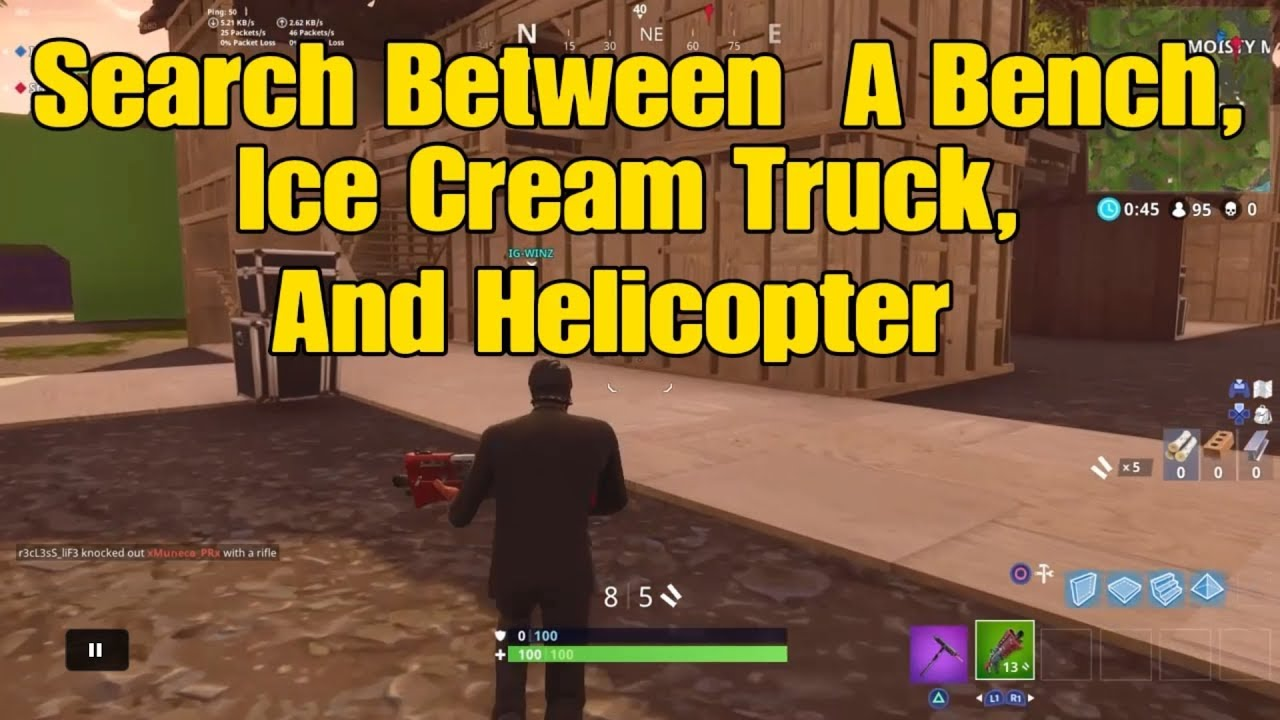 Search Between A Bench, Ice Cream Truck, And Helicopter