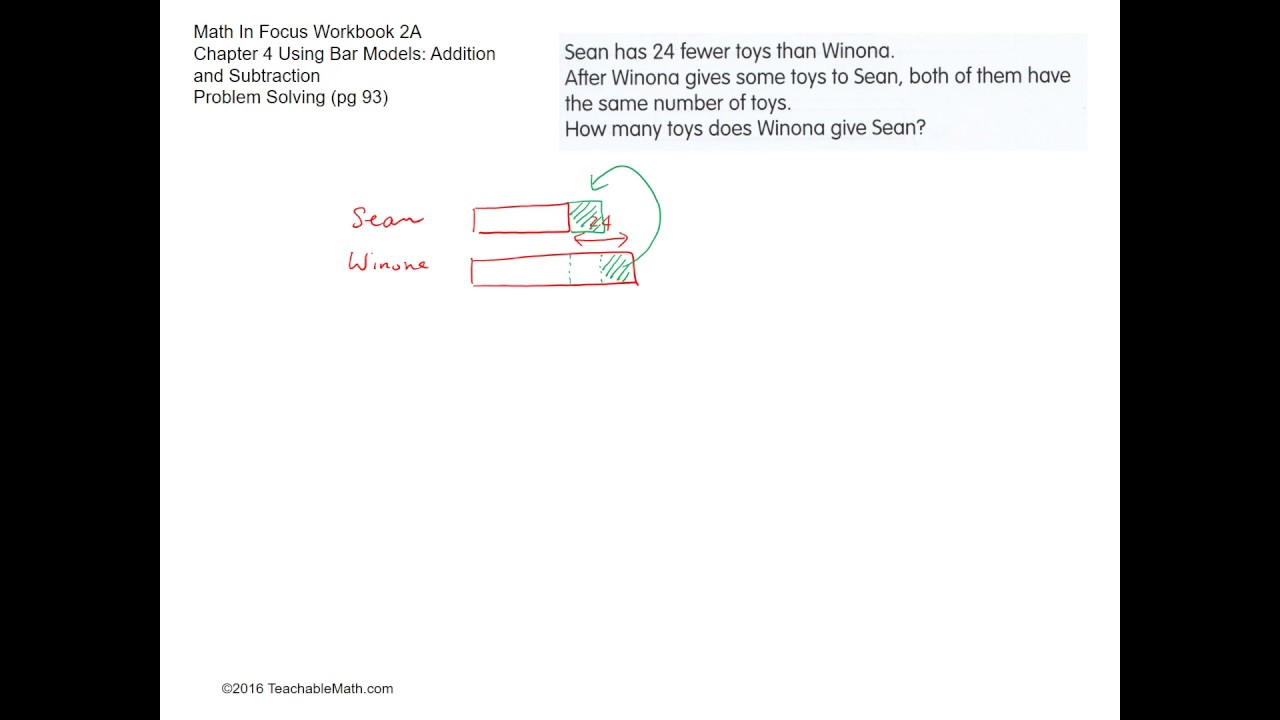 MIF Workbook 2A solutions chapter 4 using bar models addition and ...