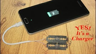 How to charge your phone using blades - Simple Life Hack thumbnail