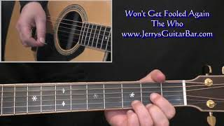 The Who Won t Get Fooled Again acoustic intro lesson