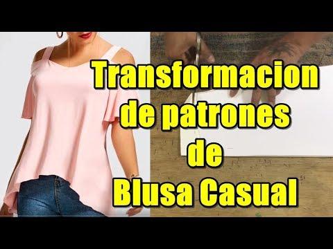 Transfomacion De Patrones De Blusa Casual Youtube