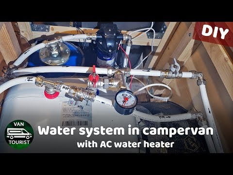 Water system in RV / van conversion with AC water heater & pump. Offgrid water system for hot shower