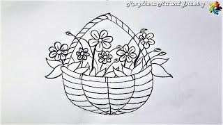 Fuler Jhuri drawing   Flowers Pot Drawing   Easy Fuldani Drawing with Pencil