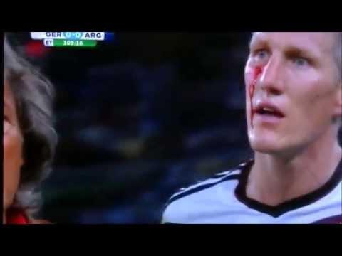 Bastian Schweinsteiger injured by Sergio Aguero, Germany vs Argentina