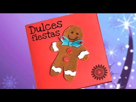 Tarjeta felicitaci n con mu eco de jengibre ideas de manualidades youtube - Ideas para una postal de navidad ...