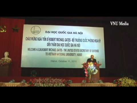United States Secretary Robert Michael Gates of Defense in Vietnam National University Hanoi.avi