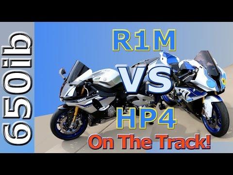 Yamaha R1M vs BMW HP4: On the track | Motovlog
