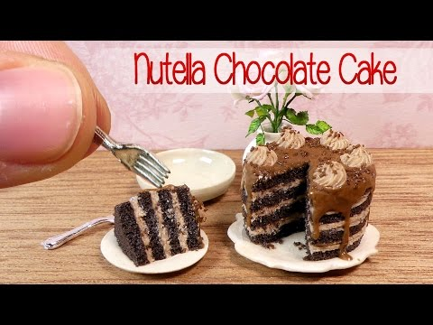 Miniature Nutella Chocolate Cake Tutorial // DIY Miniature Food