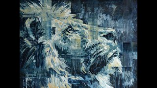 """Lion in the Light"", original oil painting by Hannah Shergold"