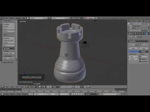 rook chess piece modeling in blender - HD