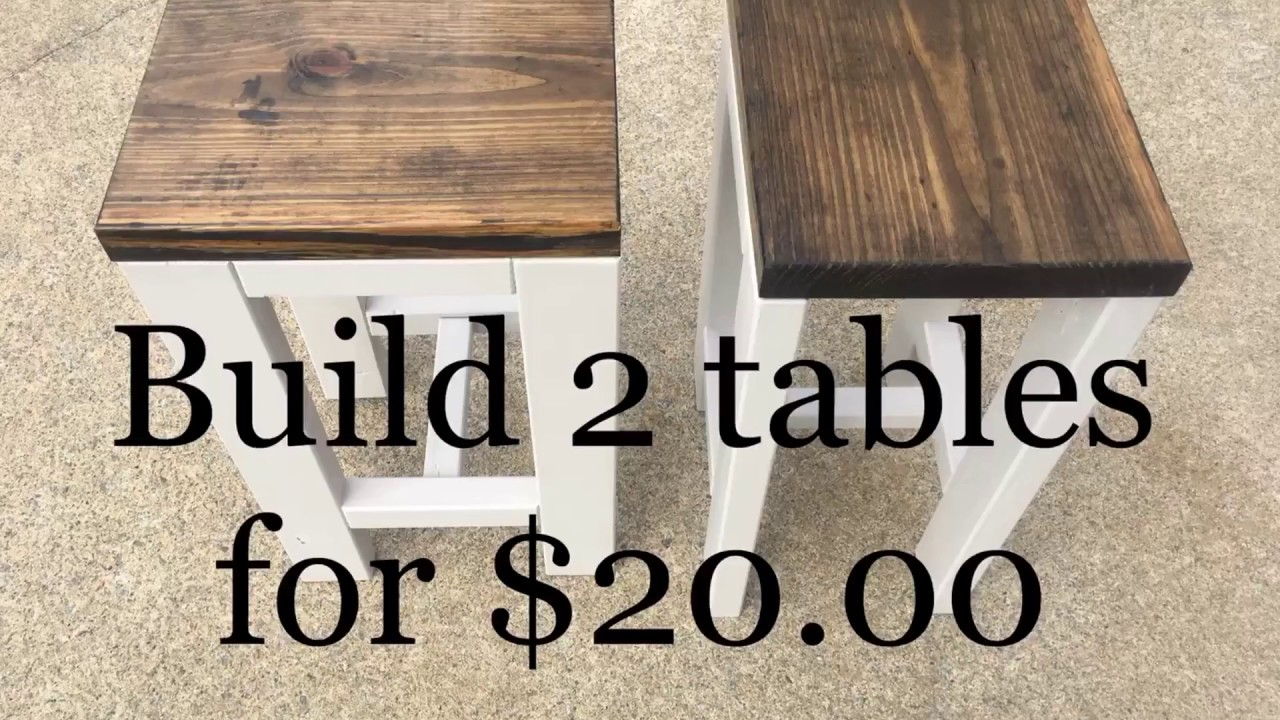 DIY | How to make 2 tables for $20.00 | Living room end tables - YouTube