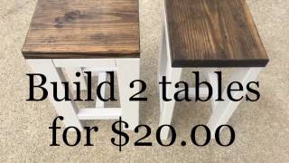 DIY How to make 2 tables for 20.00 Living room end tables