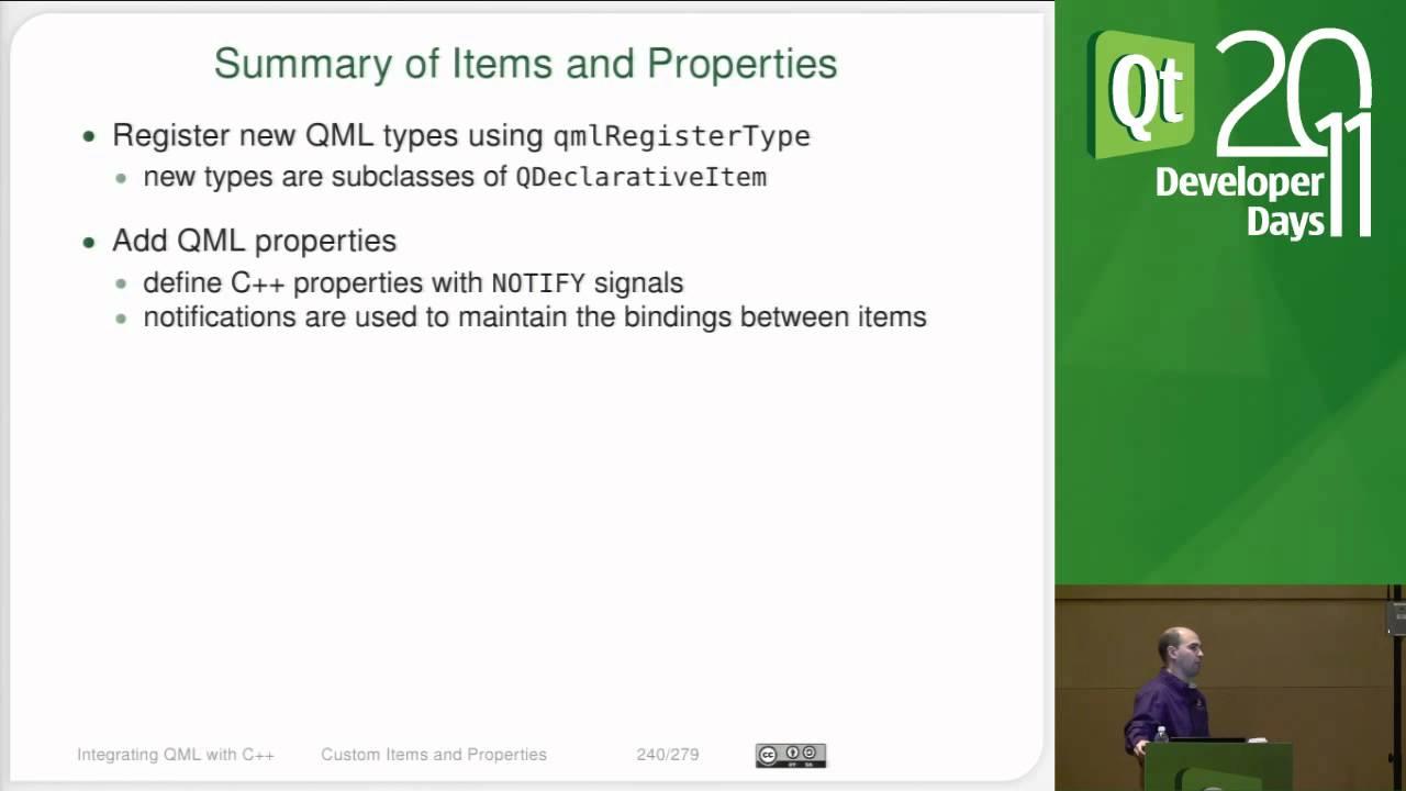 Qt DevDays 2011, Programming with Qt Quick 6/6 - C++ Integration: Justin  Noel