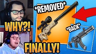 Streamers React to *VAULTED* Bolt Sniper and *UNVAULTED* Suppressed SMG! - Fortnite Moments