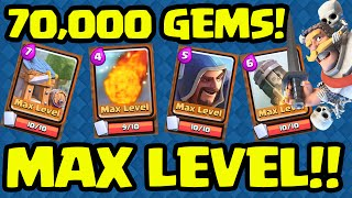 Clash Royale  ♦ 70,000 GEMS! ♦ MAXING CARDS!