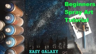 SPRAY PAINT ART BEGINNERS TUTORIAL - HOW to MAKE EASY GALAXY