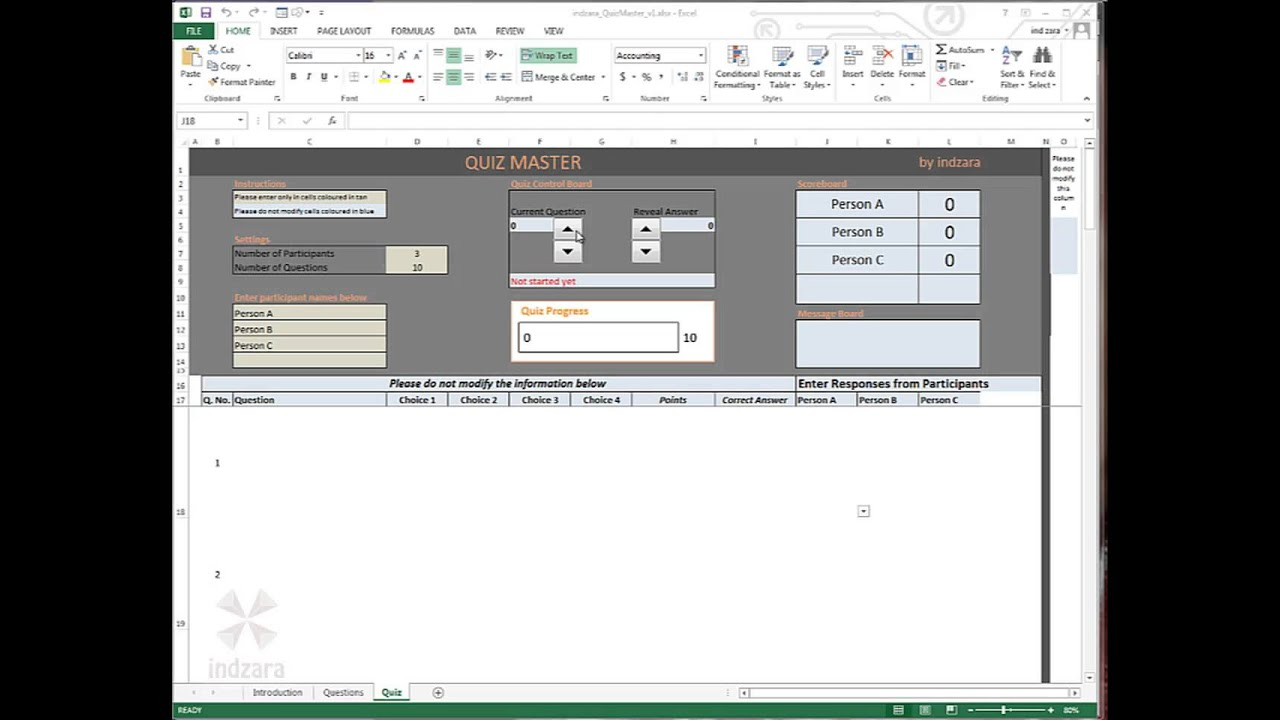 Quiz Master Excel Template by indzara - YouTube