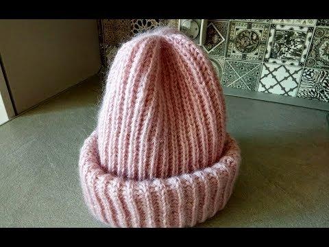 Связать шапку женскую спицами английской резинкой
