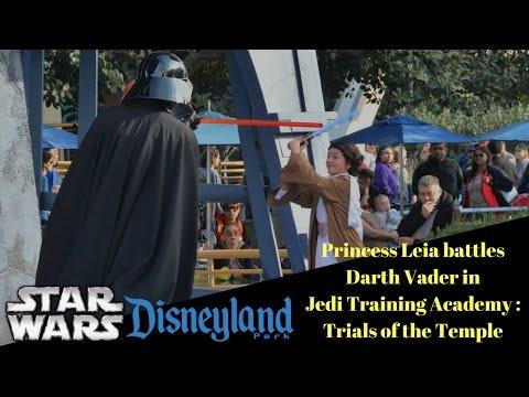 Princess Leia battles Darth Vader at Jedi Training Academy in Disneyland