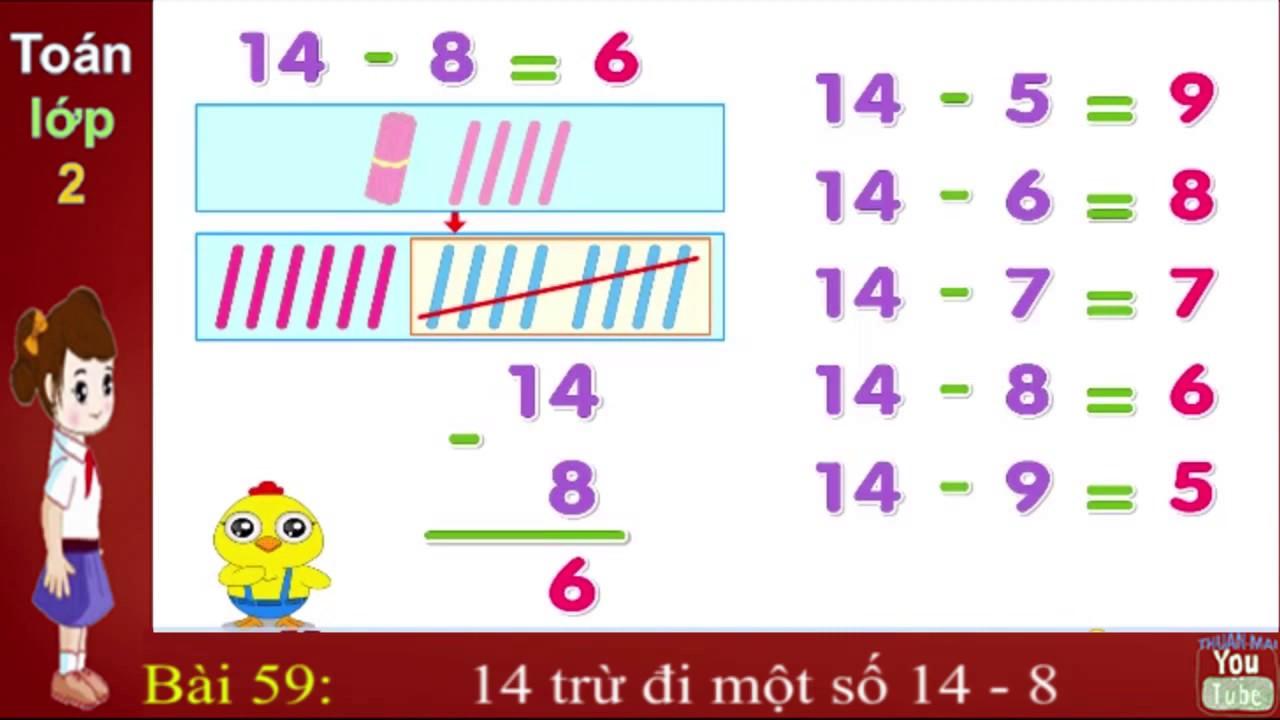 Toán lớp 2, Bài, 59, 14 trừ đi một số, 14 - 8, thuan mai, suamay66