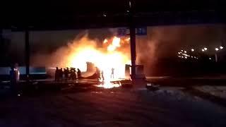 Бензовоз горит под Нижним Новгородом