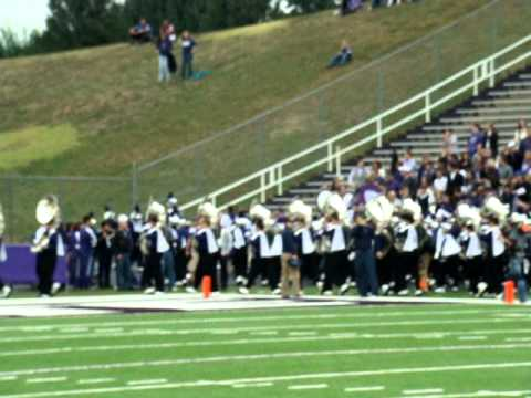 KSU Stadium Manhattan  2011 Sep Marching Band firing up the student section