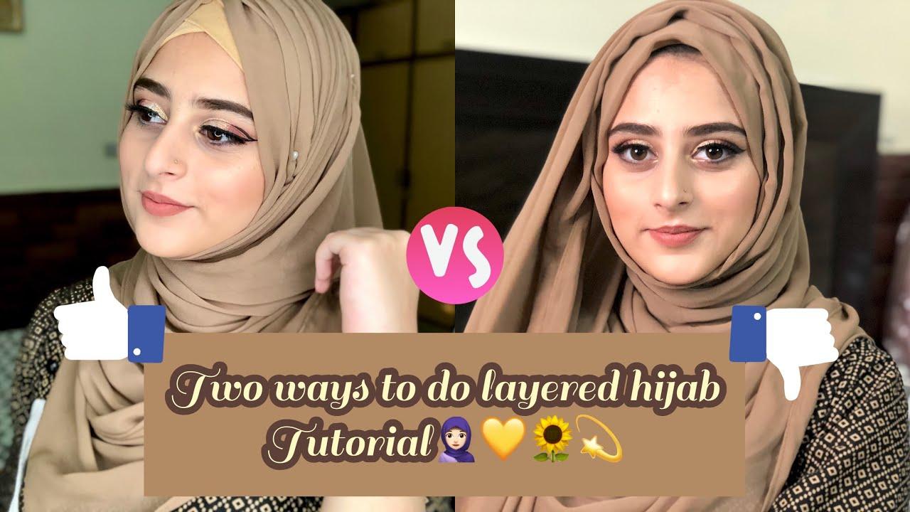 Two ways of easy layered hijab tutorial | SAMRA MIRR