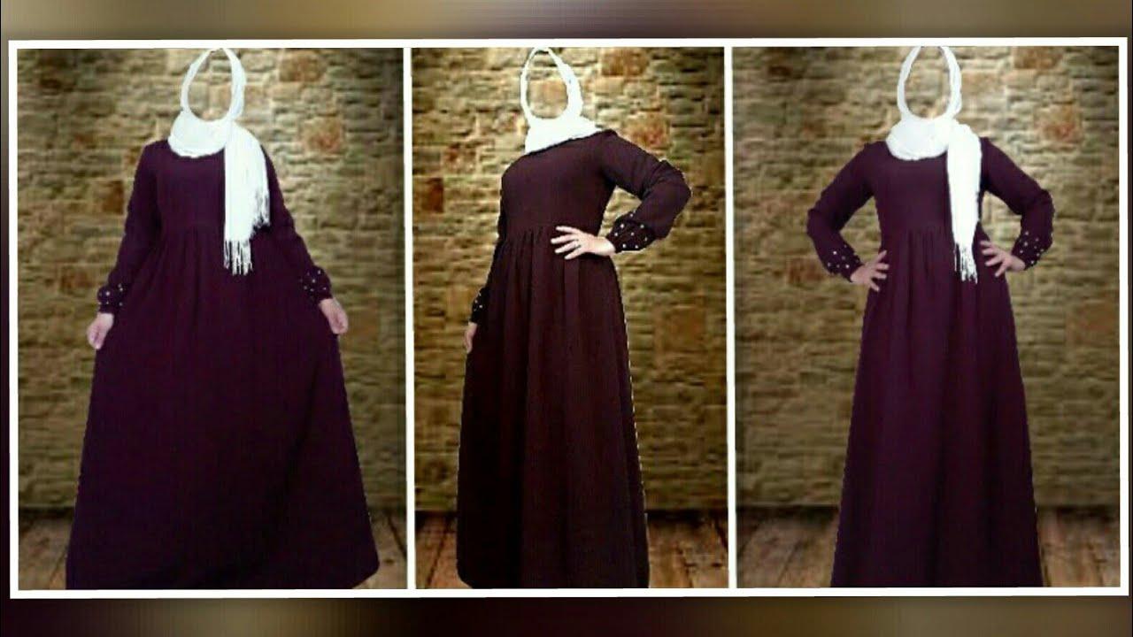 b78363de41aa0 تفصيل وخياطة فستان للمحجبات مزين بحبات اللؤلؤ تفصيل عباية لا يفوتكم ✓ بثوب  كريب hijab fashion