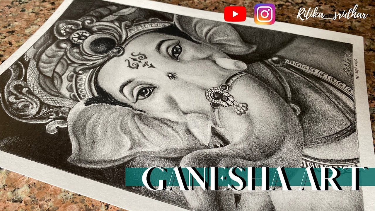 Drawing Ganesha || Pencil art || easy ganesh drawing || lord ganpati bappa