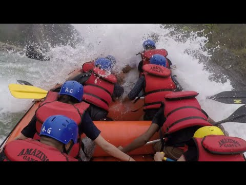 Rishikesh rafting, raft flip and rescue