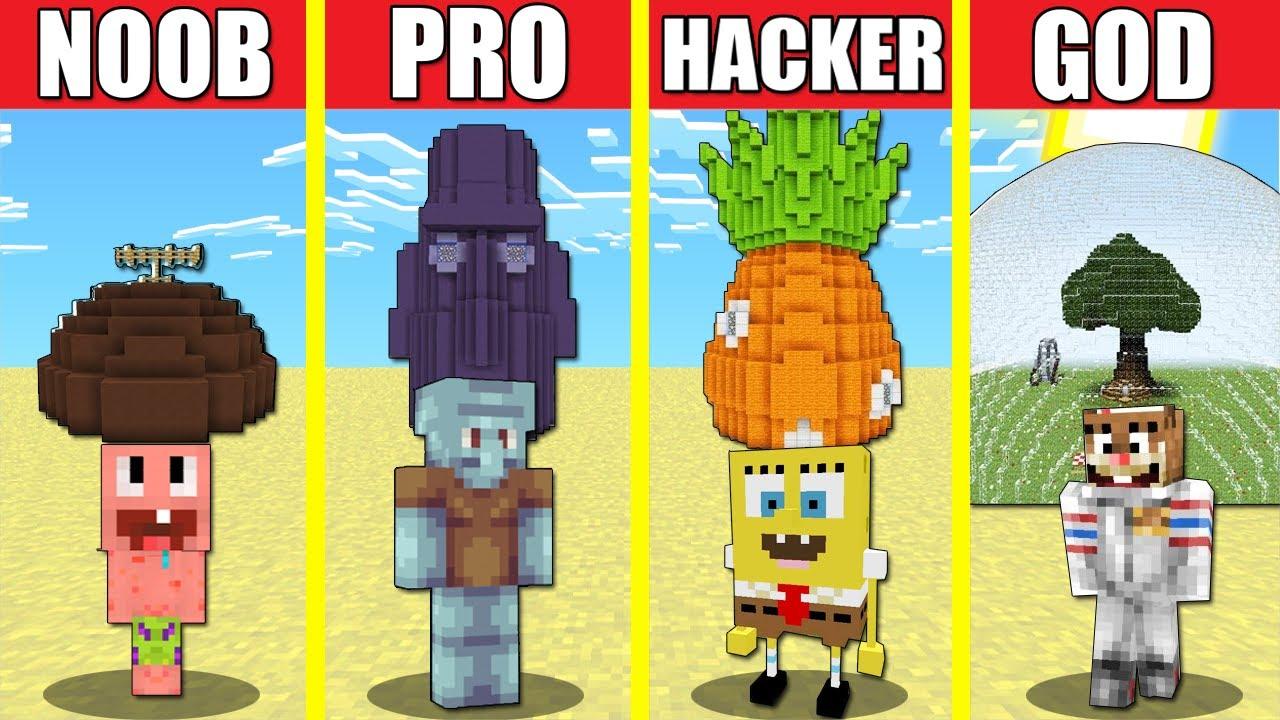 Minecraft Battle  Family Sponge Bob House Build Challenge