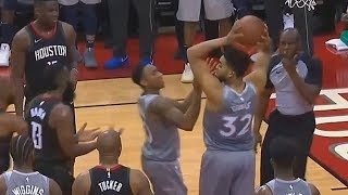 Karl Anthony Towns Forgets It's His Team's Ball & Almost Gives It To The Rockets After Travelling!