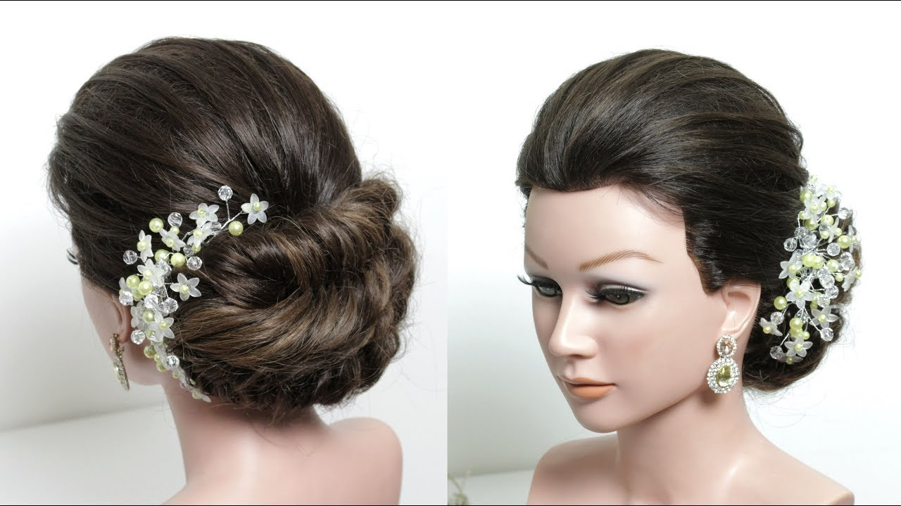 Simple Hair Bun Hairstyle With Puff For Wedding or Function - YouTube