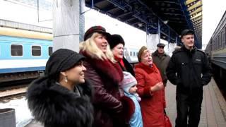Saying goodbye to Zarina at Kiev Rail Station