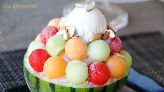 How to make Melon Shaved Ice (bingsu) น้ำแข็งไสเมล่อน