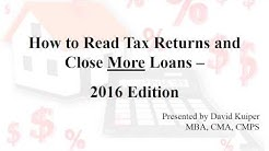 (2016 Edition) How to Read Tax Returns & Close More Loans CLASS PREVIEW