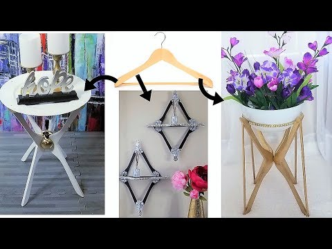 HOW TO USE HANGERS FOR 3 DECORATIVE & USEFUL HOME ESSENTIALS| DIY TABLE |DIY SHELF |DIY PLANT STAND