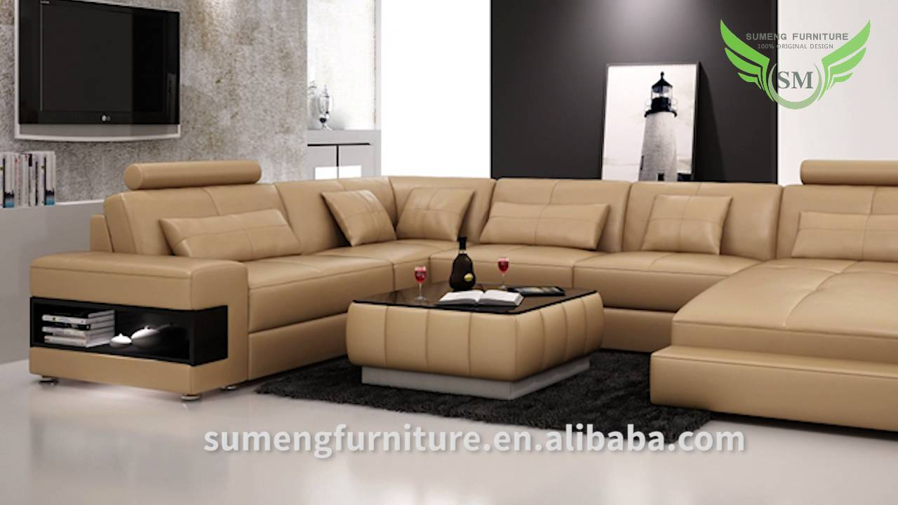 Sumeng modern leather u shape sofa youtube for V shaped living room