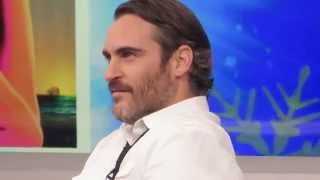 Joaquin Phoenix waiting for interview with George Stephanopoulos about Inherent Vice on GMA