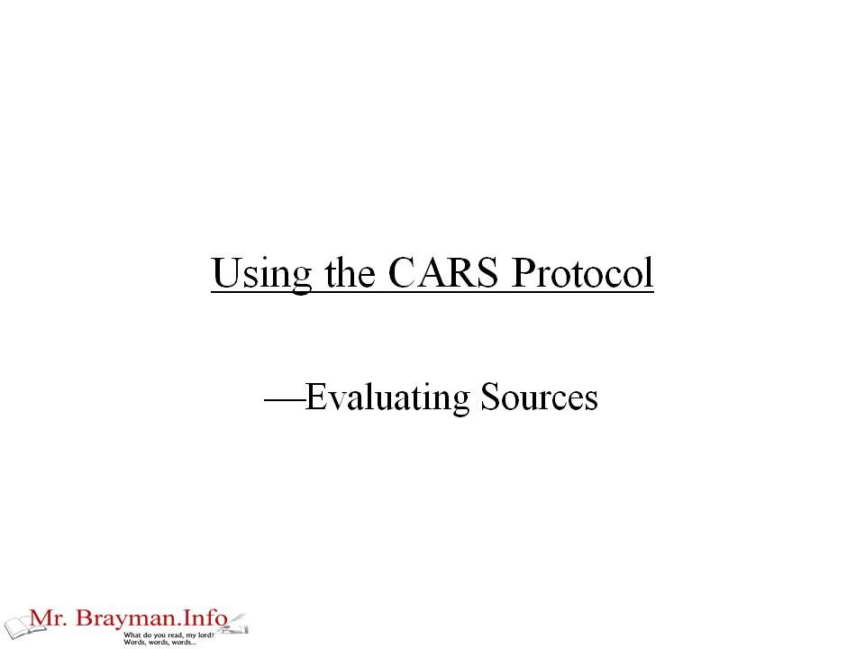 CARS Protocol Research Paper Writing Strategy YouTube