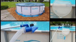 "How To Vacuum An Above Ground Pool Summer Waves Elite 14' x 42"" Intex Vaccum"