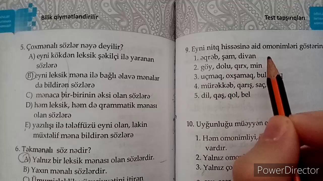 Azərbaycan dili DİM 5 ci sinif G variantı izahı (səh 170-171)