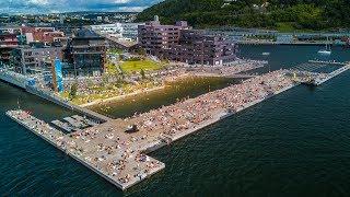 Swim and sunbath in Oslo downtown