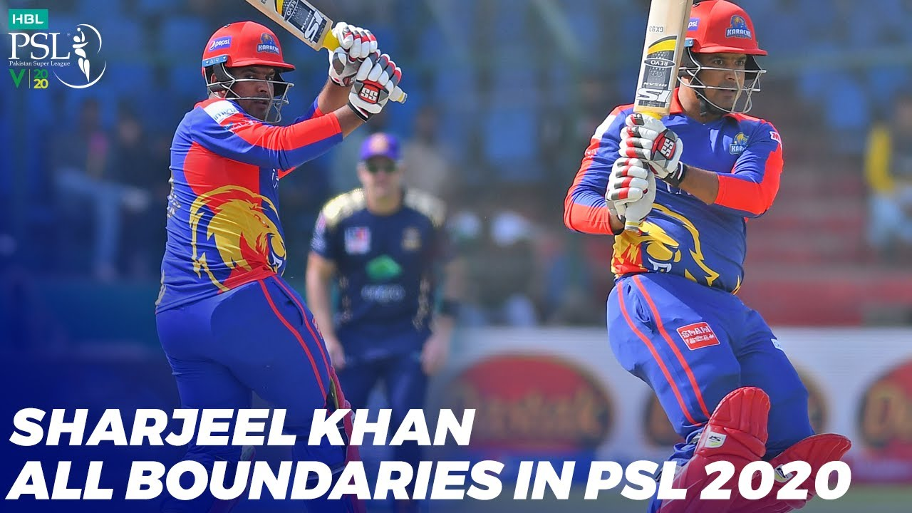 Sharjeel Khan All Boundaries In HBL PSL 2020 | MB2T