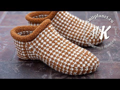 Вязание носков спицами ленивым жаккардом 146