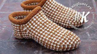 Носки-тапочки ленивым жаккардом спицами