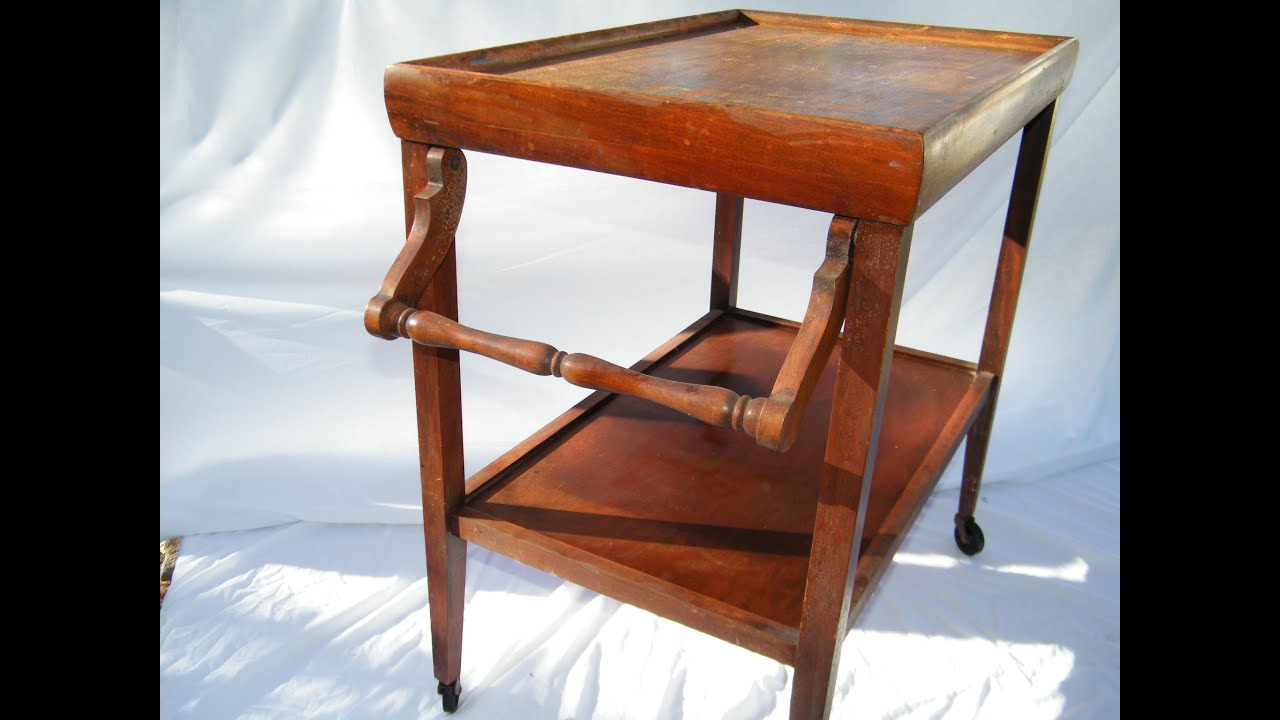 Antique Wooden Rolling Kitchen Tea Coffee Serving Cart
