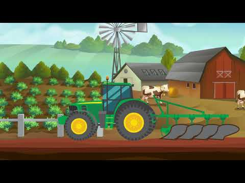 Tractor On A Farm, Harvesting, Ploughing The Field Video For Kids