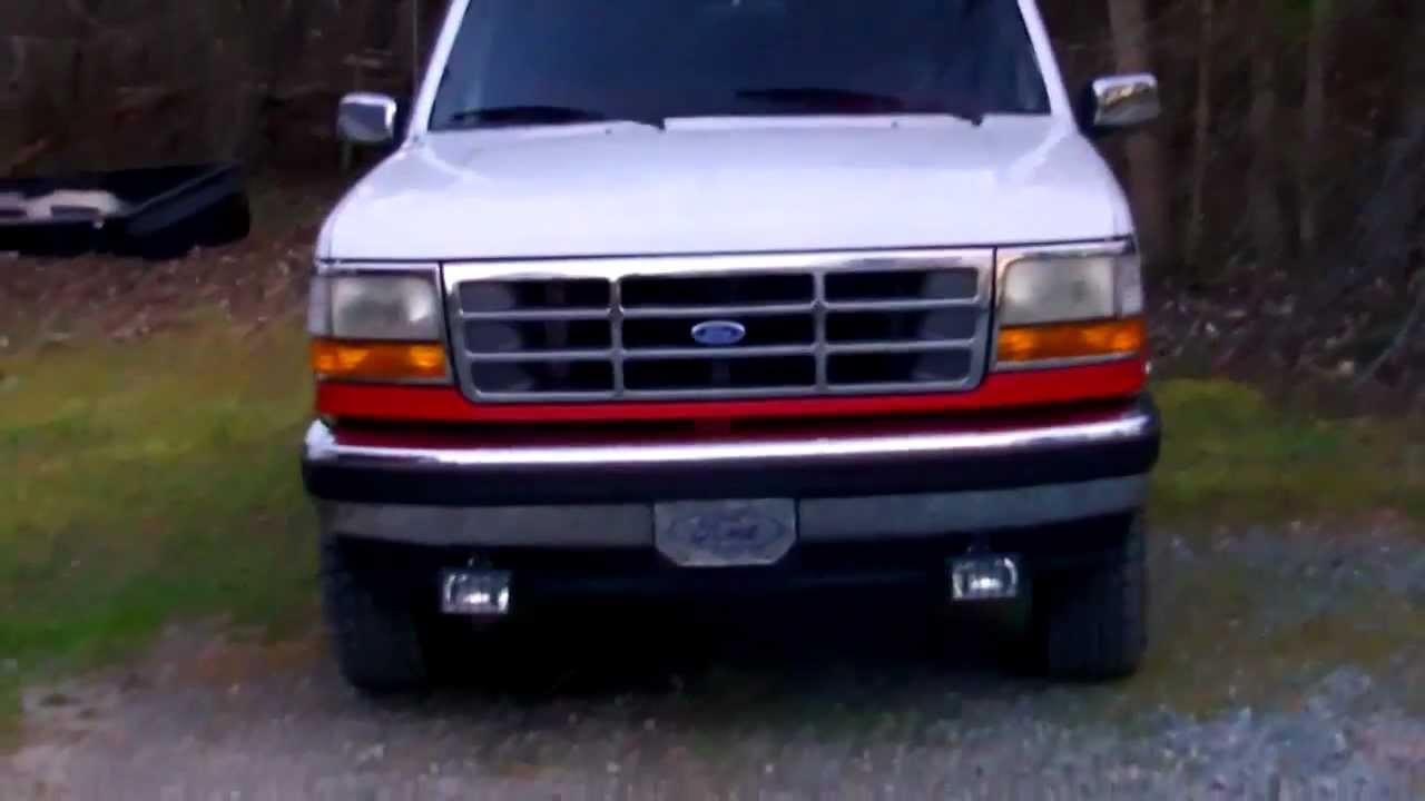 1995 Ford F150 Euro Black Dual Halo Projector Headlights Youtube
