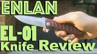 Enlan EL-01 Wood Handled Pocket Knife Review.  A Classic Budget Blade.